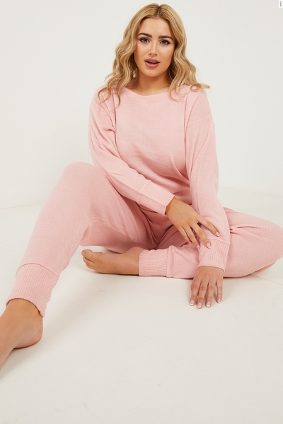 Curve Pink Knitted Lounge Set